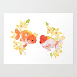 Ranchu and Forsythias Art Print
