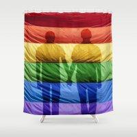 kim sy ok Shower Curtains featuring OK! by alex preiss