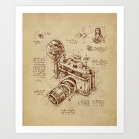 brown Art Prints featuring Moment Catcher by Enkel Dika