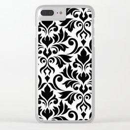 Flourish Damask Art I Black on White Clear iPhone Case