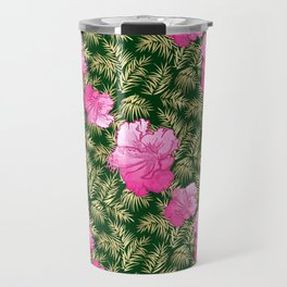 Lovely tropical pattern with pink hibiscus flowers Travel Mug