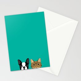 Boston Terrier & Tabby Stationery Cards