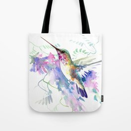 Hummingbird and Soft Purple Flowers Tote Bag