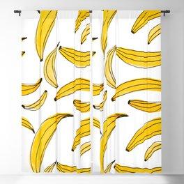Watercolor bananas - yellow Blackout Curtain