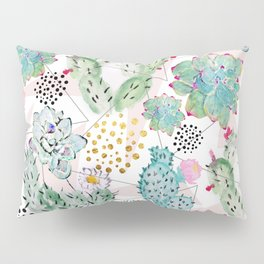 Modern triangles and hand paint cactus pattern Pillow Sham
