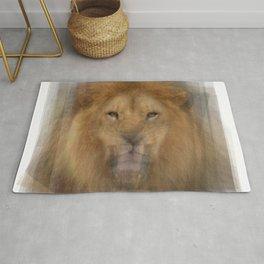 Lion Portrait Overlay Rug