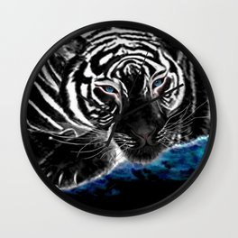 The black tiger with silver whiskers weeps over the world .. Wall Clock