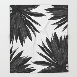 Agave Cactus Black & White Throw Blanket