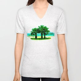 Tropical Tree Trio Unisex V-Neck