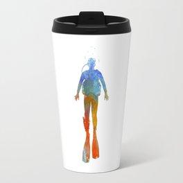 Man scuba diver 04 in watercolor Travel Mug