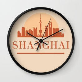 SHANGHAI CHINA CITY SKYLINE EARTH TONES Wall Clock