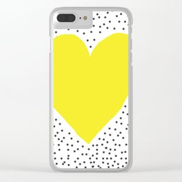 Yellow heart with grey dots around Clear iPhone Case
