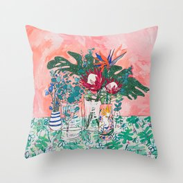 Cockatoo Vase - Bouquet of Flowers on Coral and Jungle Throw Pillow