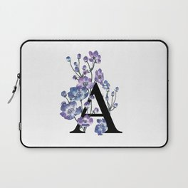 Letter 'A' Anemone Flower Typography Laptop Sleeve