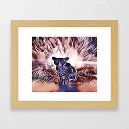 Black Panther Fire Cat Framed Art Print