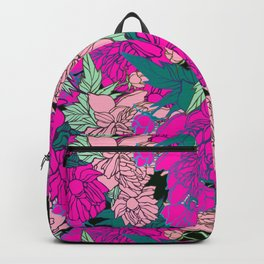 bright and colorful design with peonies Backpack