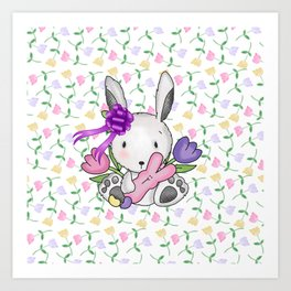 Easter Bunny And Tulips Art Print
