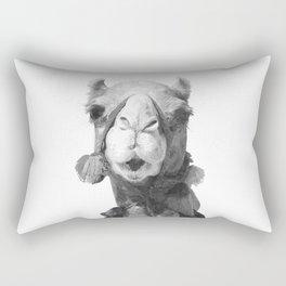 Black and White Camel Portrait Rectangular Pillow