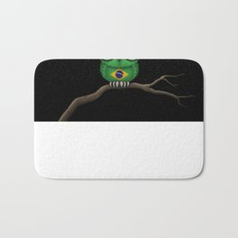 Baby Owl with Glasses and Brazilian Flag Bath Mat
