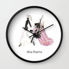Merry Christmas Fashion Illustration - Blonde Hair Option Wall Clock