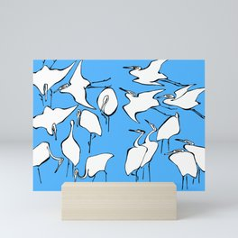 "Katsushika Hokusai ""Cranes from Quick Lessons in Simplified Drawing"" (1823)(edited) Mini Art Print"
