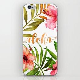 Aloha Watercolor Tropical Hawaiian leaves and flowers iPhone Skin
