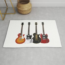 Four Electric Guitars Rug
