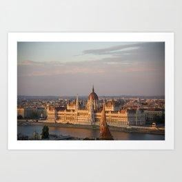 Budpest Sunset over Parliament Art Print