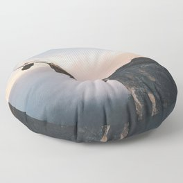Up in the Clouds-Surreal Levitation Off a Cliff Floor Pillow