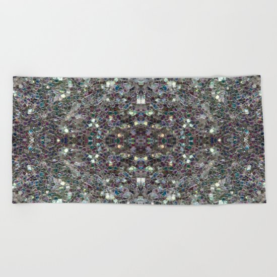 Sparkly colourful silver mosaic mandala Beach Towel