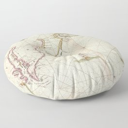Vintage Map of New Netherland (1672) Floor Pillow