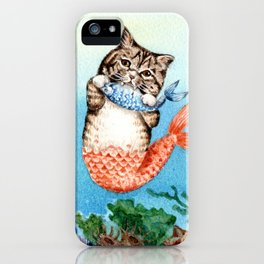 Cute Purrmaid Cat Mermaid iPhone Case