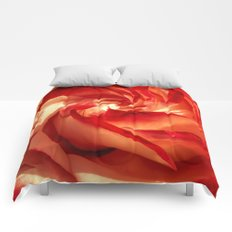 In fire - red and orange rose Comforters