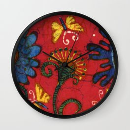 Batik butterflies and flowers on red Wall Clock