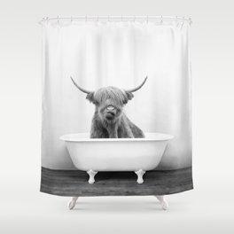 Highland Cow in a Vintage Bathtub Rustic Bath Style (bw) Shower Curtain