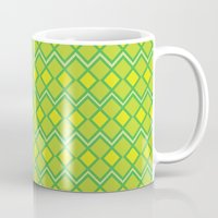 lime green Mugs featuring Green Lime Square Pattern by FlowerPot