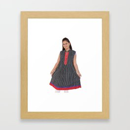 Black Cotton Kurtis for Women's & Girls Framed Art Print