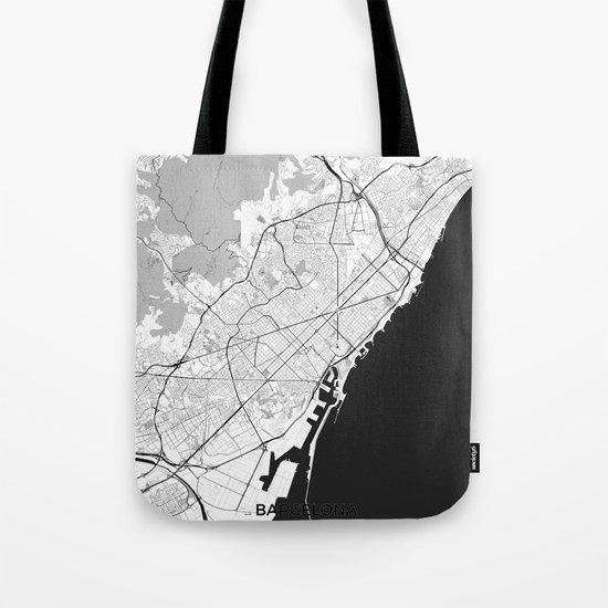 Barcelona Map Gray Tote Bag
