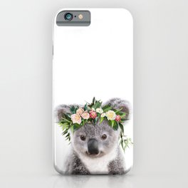 Baby Koala With Flower Crown, Baby Animals Art Print By Synplus iPhone Case