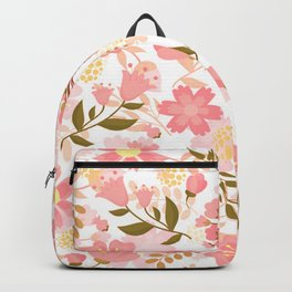Pink Florals Seamless Pattern Design, Cute Pink Flowers Backpack