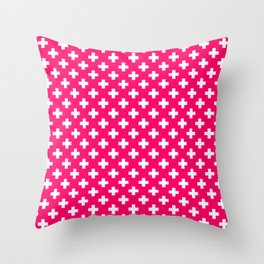 White Crosses on Hot Neon Pink Throw Pillow