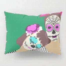 Sugar Skull Halloween Girls Green Pillow Sham