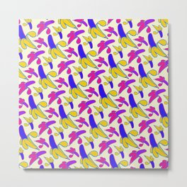 Berry Berry Nanners - Pink and Yellow Metal Print