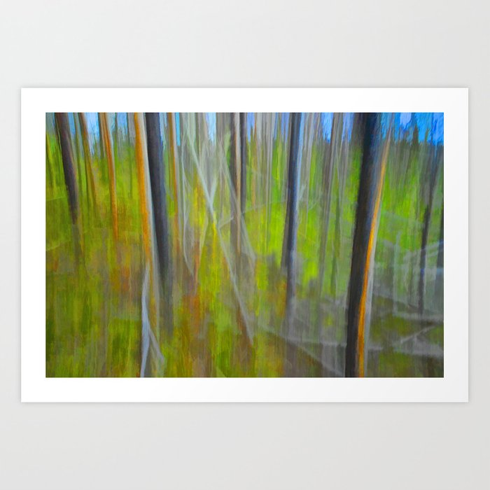 Forest Impression an in Camera Altered Image from Yellowstone Art Print