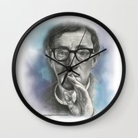 woody allen Wall Clocks featuring Woody Allen by Magdalena Almero
