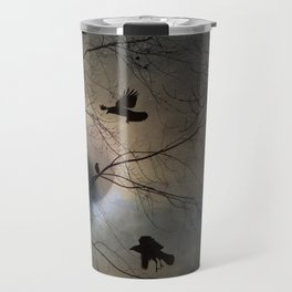 Crows Lit By A Full Moon Travel Mug