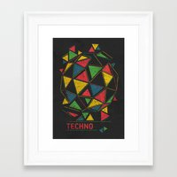 techno Framed Art Prints featuring Techno by Sitchko Igor
