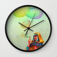 loish Wall Clocks featuring Bubbles of Color by loish