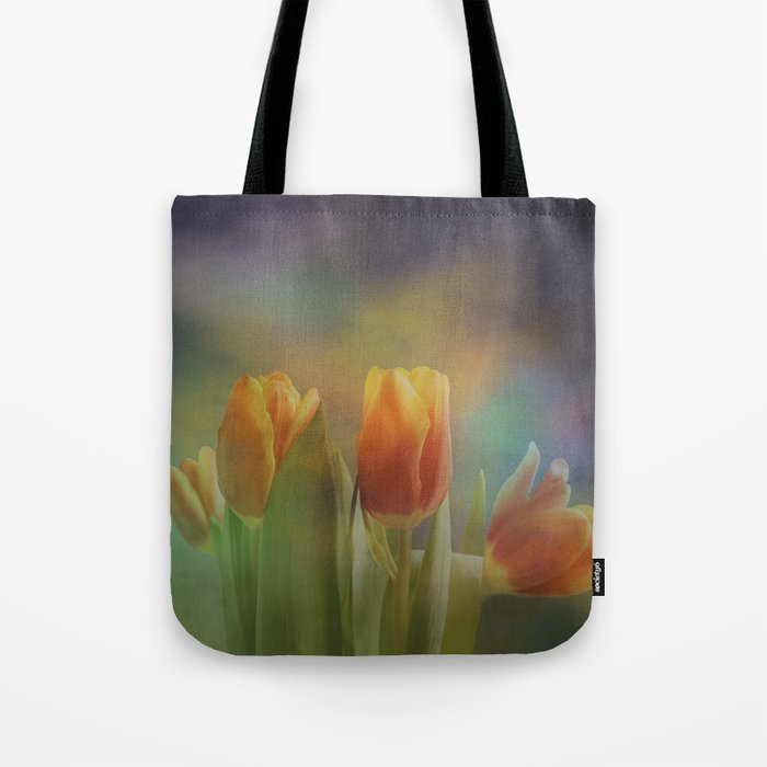 Painterly spring tulips on an abstract background Tote Bag