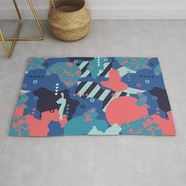 Vivid Collaged Geometric Tribal Abstract Geo Native Rug